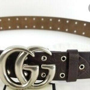 NWT 100% authentic Gucci embossed belt w marmot GG